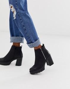 Черные ботинки челси на каблуке и массивной подошве и с молнией New Look-Черный