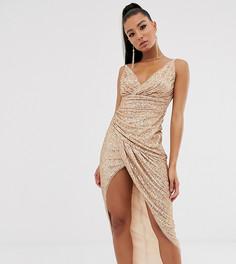 Платье макси с отделкой пайетками цвета розового золота и запахом TFNC-Золотой