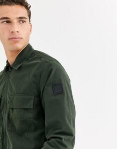 Легкая куртка цвета хаки на молнии BOSS Lovel-Зеленый