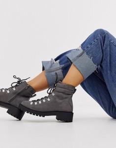 Серые походные ботинки на шнуровке New Look-Серый