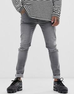 Серые облегающие джинсы с рваной отделкой Soul Star - DEO-Серый