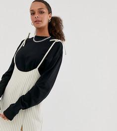 Мини-юбка в тонкую полоску с подтяжками Reclaimed Vintage inspired-Бежевый