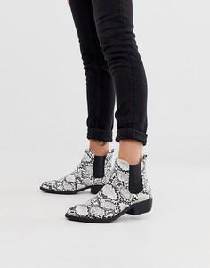 Монохромные ботинки в стиле вестерн на каблуке и с эффектом змеиной кожи Park Lane-Черный