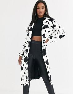 Пальто с коровьим принтом Helene Berman Ruth-Белый