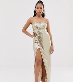Платье-бандо макси с пайетками золотистого цвета и разрезом TFNC Petite-Золотой