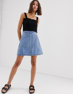 Джинсовая юбка-трапеция Weekday-Синий