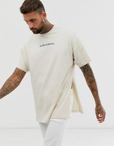 Удлиненная oversize-футболка с принтом на груди и разрезами по бокам ASOS DESIGN-Бежевый