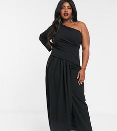 Черное платье макси на одно плечо TFNC Plus-Белый