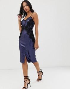 Кружевное платье миди с пайетками Little Mistress-Темно-синий