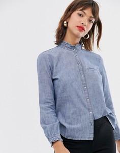 Джинсовая блузка с оборками Esprit-Синий