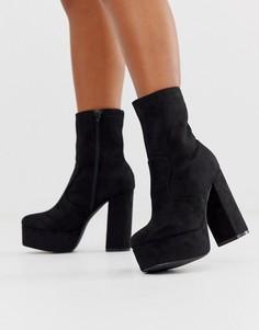 Ботинки на блочном каблуке и платформе Truffle Collection-Черный