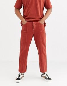 Темно-оранжевые широкие джинсы с контрастными швами ASOS WHITE-Красный