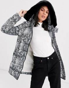 Дутое пальто со змеиным принтом и искусственным мехом Gianni Feraud-Серый