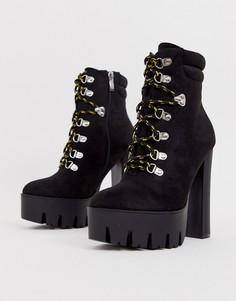 Походные ботинки на блочном каблуке со шнуровкой Truffle Collection-Черный