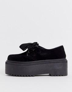 Черные туфли на плоской подошве со шнуровкой ASOS DESIGN-Черный