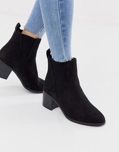 Черные ботинки на каблуке New Look-Черный