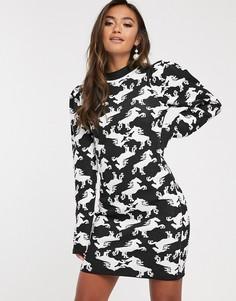 Платье мини с принтом ASOS DESIGN-Мульти