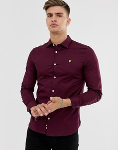 Бордовая поплиновая рубашка облегающего кроя с длинными рукавами Lyle & Scott-Красный