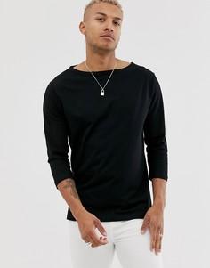 Свободная черная футболка с вырезом лодочкой и рукавами 3/4 ASOS DESIGN-Черный
