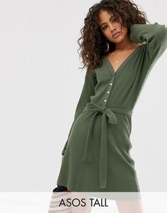 Мягкое платье мини в рубчик и со спущенными плечами ASOS DESIGN Tall-Зеленый