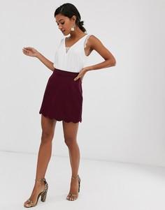 Строгая мини юбка-трапеция с фактурной отделкой по краю ASOS DESIGN-Фиолетовый
