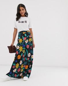 Юбка макси с цветочным принтом в стиле ретро Neon Rose-Мульти