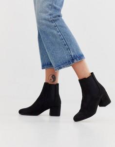 Ботинки челси на каблуке из искусственной замши New Look-Черный