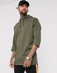 Oversize-худи цвета хаки с рукавами 3/4 ASOS DESIGN-Зеленый