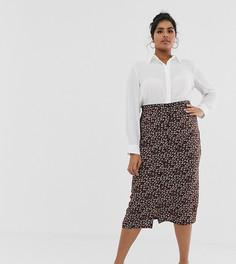 Мини-юбка с пуговицами и цветочным принтом Daisy Street Plus-Коричневый