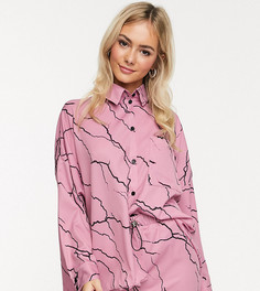 Свободная рубашка бойфренда от комплекта с принтом молний Another Reason-Розовый