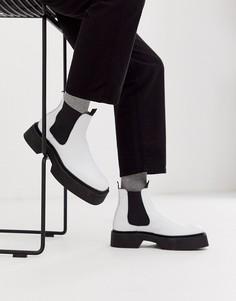 Светло-бежевые кожаные ботинки челси с квадратным носком ASOS DESIGN-Белый