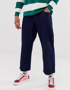 Широкие синие джинсы укороченного кроя Topman-Синий