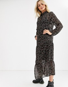 Свободное шифоновое платье черного цвета с цветочным принтом New Look-Черный