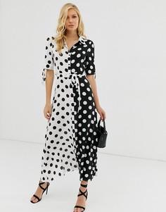 Платье-рубашка макси в горошек Zibi London-Мульти