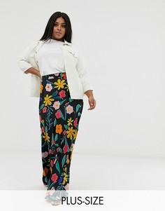 Юбка макси в стиле ретро с цветочным принтом Neon Rose Plus-Мульти