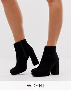 Черные ботинки из искусственной замши на платформе и каблуке New Look Wide Fit-Черный
