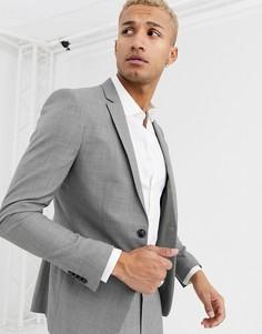 Серый приталенный пиджак Topman