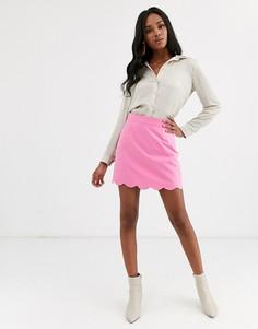 Мини юбка-трапеция с фигурным краем ASOS DESIGN-Розовый