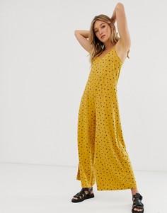 Желтый минималистский комбинезон из имитирующей лен ткани с завязкой сзади и цветочным принтом ASOS DESIGN-Мульти