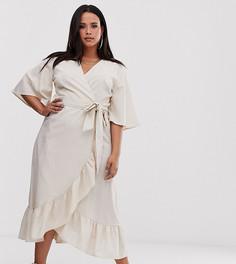 Льняное платье с запахом и оборками UNIQUE21 Hero Plus-Бежевый