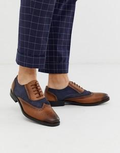 Темно-синие/коричневые кожаные туфли на шнуровке Redfoot-Темно-синий