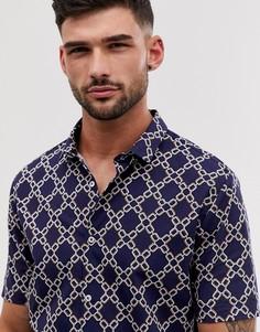 Темно-синяя рубашка с короткими рукавами и принтом River Island-Темно-синий