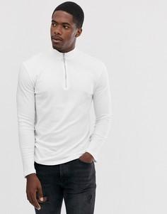 Белая футболка с длинным рукавом и высоким воротом на молнии New Look-Белый