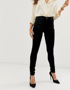 Бархатные джинсы скинни с завышенной талией J Brand Maria-Черный