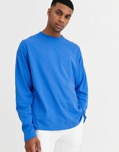 Синяя oversize-футболка с длинными рукавами ASOS DESIGN-Синий