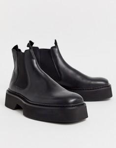 Черные блестящие кожаные ботинки челси с квадратным носком ASOS DESIGN-Черный