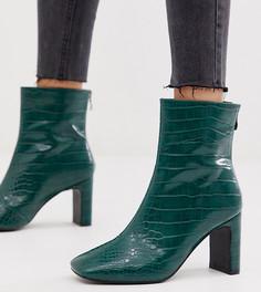 Эксклюзивные зеленые ботильоны на каблуке с отделкой под кожу крокодила Z_Code_Z Sanaa-Зеленый