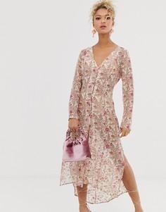 Платье-рубашка с цветочным принтом Never Fully Dressed-Мульти