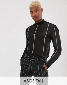 Сетчатая футболка с длинным рукавом и высоким воротом ASOS DESIGN Tall-Черный