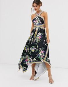 Платье миди с халтером и вырезами по бокам ASOS EDITION-Мульти